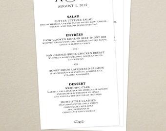 Modern Script Wedding Reception Dinner Menu - Modern Menu Card - Monogram - Personalized Wedding Menu Card - Custom Colors Available