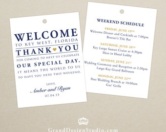 Set of 10 - Double-Sided Gift Tags for Wedding Hotel Welcome Bag - Destination Wedding - Welcome Bag Thank You Tags - Itinerary, Schedule