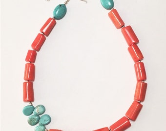 Statement Necklace. Handmade Pink Coral and Turquoise Briolette w Sterling Silver Chain and Findings Adjustable Statement Necklace - B0087