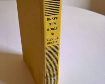 Brave New World by Aldous Huxley --- Vintage Classic 20th Century Literature --- Dystopian Future Novel --- Retro 1940's Local Library Book