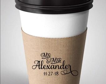 Coffee Sleeve Wedding Stamp, Custom Coffee Sleeve, Wedding Favor Rubber Stamp,  Alexander
