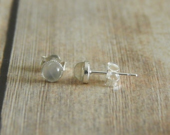 Moonstone Stud Earrings, 4mm Sterling Silver Studs, Gemstone Stud Earrings, Pierced Ears, Moonstone Earrings Sterling Silver Moonstone Studs