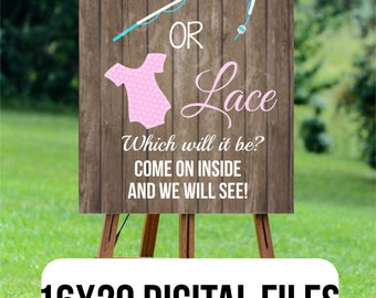 Lures or lace welcome sign  INSTANT DIGITAL DOWNLOAD 16x20 come on in door yard easel gender reveal party pink blue girl boy baby fishing