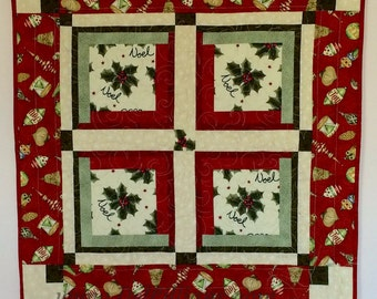 Noel Christmas Wall Hanging, Quilted Holiday Decor, Quilted Wall Hanging, Christmas Wall Hanging, Table Topper, Holiday Home Decor,