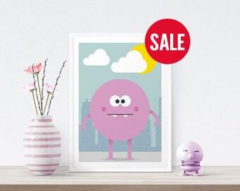 Pink Monster Print - Childrens Illustration, Art Print, Monster Poster, Childrens Wall Art, Kids Room Decor, Pink Print
