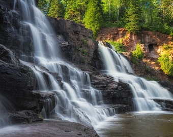 Gooseberry Falls, Waterfall Photography, Minnesota State Park, North Shore, Lake Superior, Nature Spirits, Green Brown White, Blue Sky