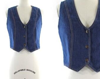 1970s denim vest • blue jean vest • snap front vest S