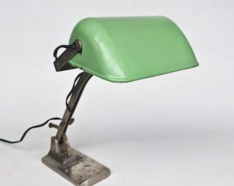 Antique Industrial Desk Lamp / Work Table Lamp / Library Light  / Green Enamel