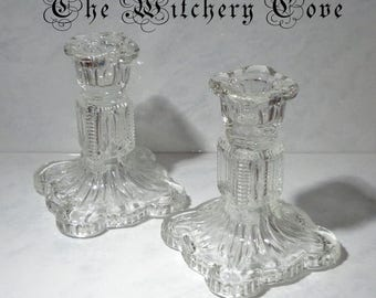 2 Vintage Candle Holders made from pressed clear glass