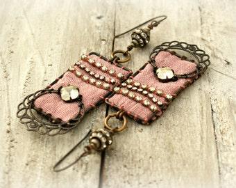 Assemblage Earrings, Romantic Victorian Earrings, Fabric and Rhinestone Bead Earrings, Black Brass Filigree, Oxidized Copper Earrings.