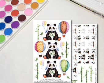 Panda Planner Sticker Sheets, The Ones with Little Pandas Mini Kit, Whimsical Watercolor Animals, Erin Condren, Traveler's Notebook