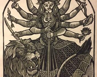 Maa Durga Block Print