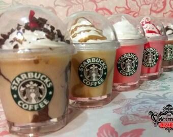 "Starbucks KEYCHAIN Miniature Drink charm keychain on keyring, attachable miniature fake food drink, kawaii, decoden, coffee, frappucino 2"""