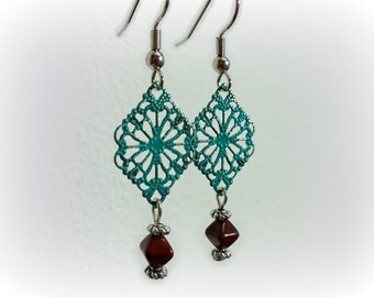 Filigree Earrings, Silver Earrings, Turquoise Patina Earrings, Marsala Wine Red Earrings, Boho Earrings, Gypsy Earrings, CLASSIC Collection