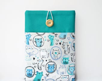 Kindle Cover, Cats Kindle Voyage Case, Kindle Paperwhite Cover, Teal and Grey Padded Sleeve with Pocket