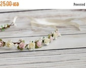 ON SALE Handcrafted Pastel Pink and Ivory Rose Flower Crown - Spring Wedding Accessory - Flower Girl Halo - Light Pink Bridesmaid - Woodland