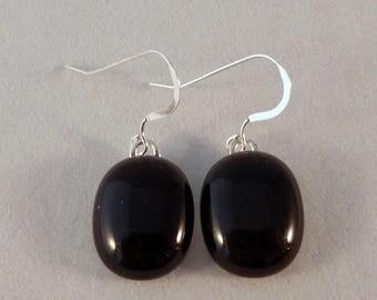 Black Fused Glass Earrings, Fused Glass, Fused Glass Earrings, Black, Glass Earrings, Dangle Earrings, Black Earrings