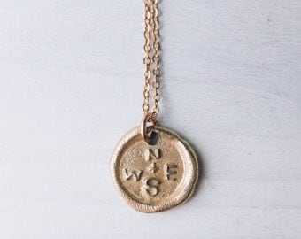 Bronze Compass Necklace Wax Seal Necklace Stamped Brass Chain Gold Color