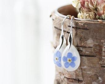 Forget me Not Earrings , Teardrop Dangle Earrings , Real Flower Earrings , Something Blue , Pressed Flower Earrings , Resin Earrings