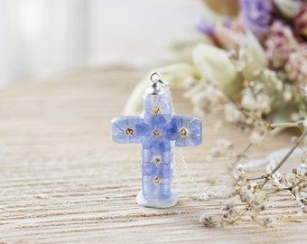 Forget me Not Necklace , Christian Cross, Christian Necklace , Jesus , Memorial Jewelry , Christian Jewelry , Gifts for her , Something Blue