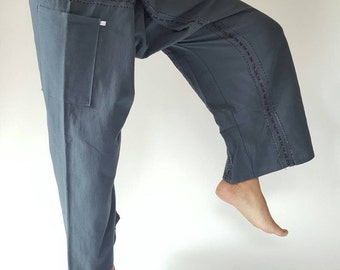 F80001 Hand Sewing Inseam design for Thai Fisherman Pants Wide Leg pants, Wrap pants, Unisex pants
