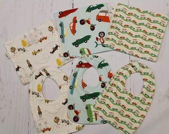 Autos Collection, Baby Bib and Burp Cloth, Newborn, Baby Shower Gift, Organic, Cars, Buses, Airplanes, Bikes Choose fabric, Build a Set