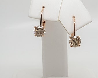1.03ctw Champagne Diamond 14kt Rose Gold Leverback Earrings