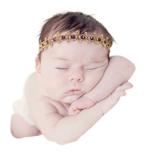 Baby Headband, Gold Headband, Burgundy Headband, Crown Girl, Crown Headband, Gold Baby Headband, Gold Infant Headband, Baby Headbands