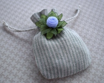 Striped cloth Drawstring pouch Small jewelry gift bag with silk flower in lilac and greenery Valentine's day gift wrapping 9.5 cm x 7 cm