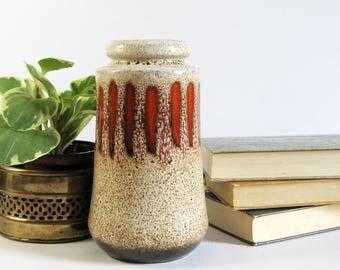 Vintage West Germany Ceramic Vase - Orange Drip Glaze Brown Speckle - Mid Century Modern Fat Lava Vase Spring Home Decor - Scheurich 549-27