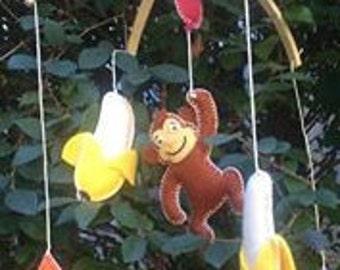 Curious George nursery, Curious George baby mobile, jungle nursery, safari mobile, rain forest mobile, circus mobile, circus, monkey mobile