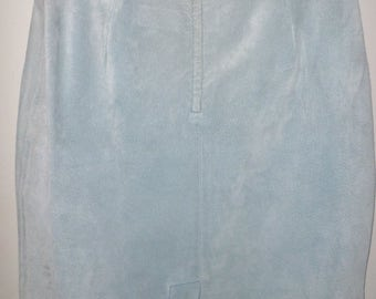 Vintage 1980's BABY BLUE Suede Leather Skirt Maggie Lawrence Size Medium M