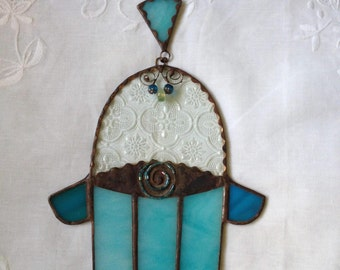 HANDMADE HAMSA HAND Clear Glass Blue and Turquoise with Beads-Filigree. Wall Hanging,Special Gift.
