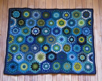 Baby Boy Crochet Blanket - MADE TO ORDER - Blue and Green Baby Blanket - Handmade Baby Shower Gift - Hexagon Baby Blanket - Hand crafted