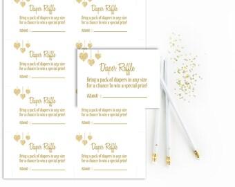 White Diaper Raffle Tickets Printable, Gender Neutral Baby Shower Diaper Raffle Card, Gold Glitter, Digital, Instant Download, White gold
