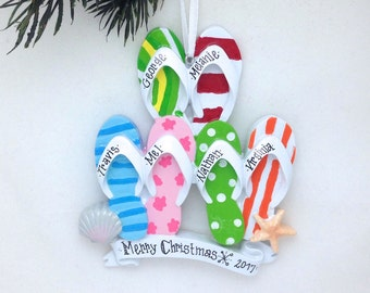 FREE SHIPPING 6 Flip Flops Family Personalized Christmas Ornament / Family of 6 / Family Christmas Ornament / Tropical Christmas