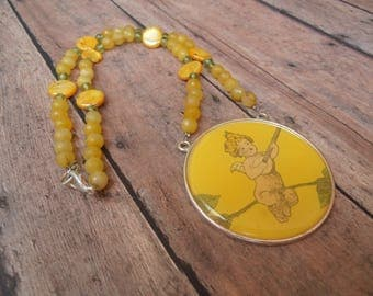 Necklace Playful Angel Necklace Womens Necklace ,Yellow Topaz Beaded Necklace Teenage Necklace,ON SALE Teenager Gift,Girls Gift,Gift for Her