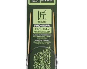 Size 1 Circular Knitting Needles - Choose Length - 2.25 mm Bamboo Circs - Clover Takumi Bamboo Needles - Comfortable Seamless Knitting - New