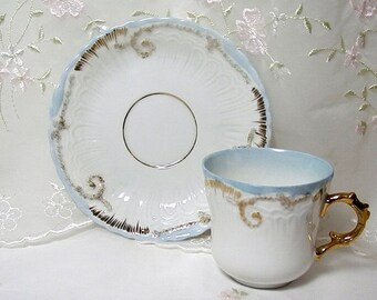 Vintage 1950s Demitasse Cup and Saucer, Blue and White with Gold Accents
