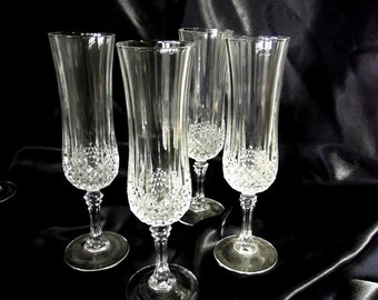 Champagne-Fluted Set of 4 in Longchamp Clear by Cristal D'Arques-Durand, Clear Cut