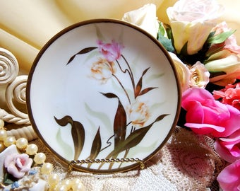 Vintage Pink and Yellow Floral Plate // Reinhold Schlegelmilch // RS Germany // Tillowitz // circa. 1920