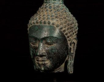 "Antique Sri Lanka Style Bronze Buddha Head Statue - 32cm/13"""