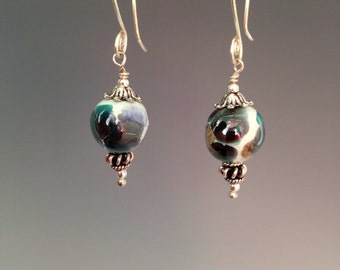 "Kazuri bead earrings ~ teal earrings ~ Kazuri jewelry ~ handpainted earrings ~ Sterling earrings ~ artisan jewelry ~ ""Kampala"""