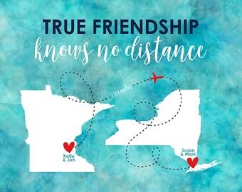 True Friendship Knows No Distance, Aqua Watercolor Blue Map Art, Long Distance Friends Moving Away New Home, Housewarming Gift | WF542