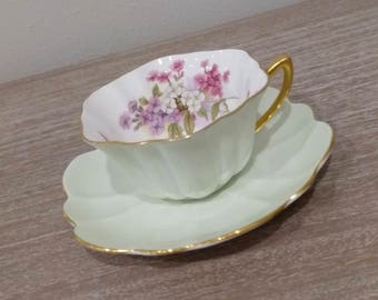 Antique Shelley teacup, mint green teacup, floral teacup, Atholl shape, pink and purple flowers