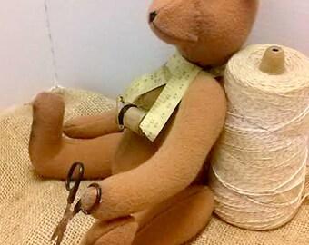 Primitive Bear Teddy Bear Sewing Bear Artist Bear Wool Teddy Bear Jointed Bear Doll
