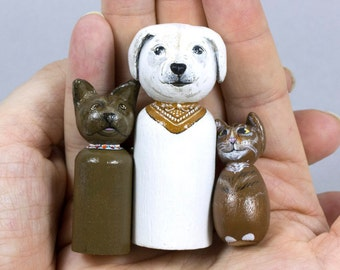 Pet Portrait Custom - Peg Doll - Animal Ornament  - Dog Lover Gift - Waldorf Toy - Pet Doll Portrait - Wooden Peg Dolls - Montessori Toy