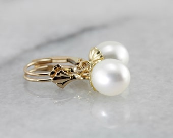 Bright White Pearl Bridal Drop Earrings in Yellow Gold VZ33HL-D