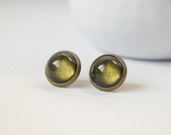 Earrings cabochons-sleepers - Green Khaki - 65