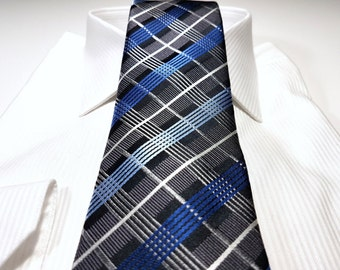Silk Tie in Plaid Checks with Horizon Cornflower Light Blue Black Charcoal Silver Grey
